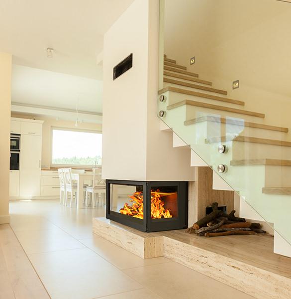 Wood Burning Fireplace Showcase Premium Edition - Bordeaux Side Glass